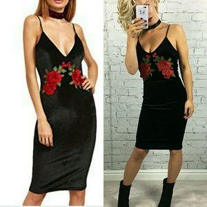 Dresses & Skirts - Black Velvet slip dress♡